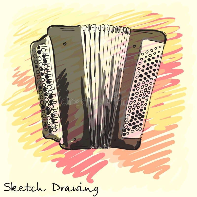 Instrumento musical Bayan clásico, acordeón Bosquejo de la identidad corporativa Vector stock de ilustración