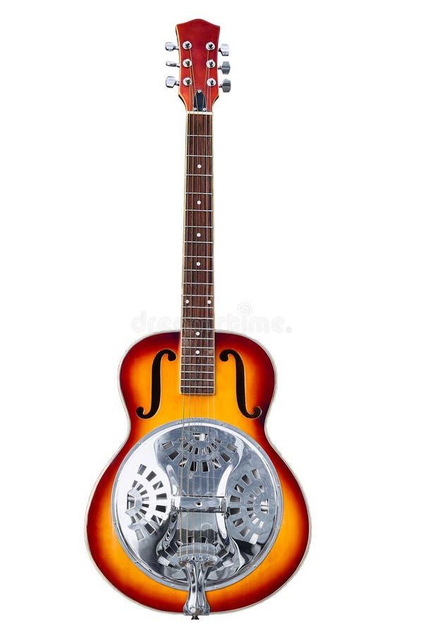 Instrumento musical clásico, guitarra del resonador de la seis-secuencia aislada en el fondo blanco imagenes de archivo