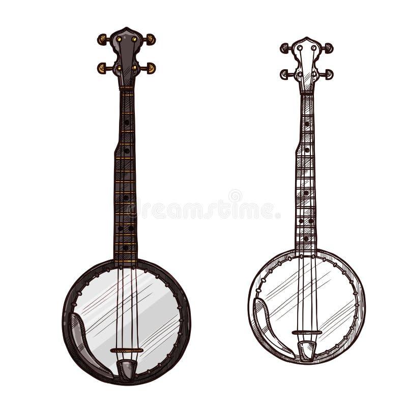 Instrumento musical da guitarra do banjo do esboço do vetor ilustração stock