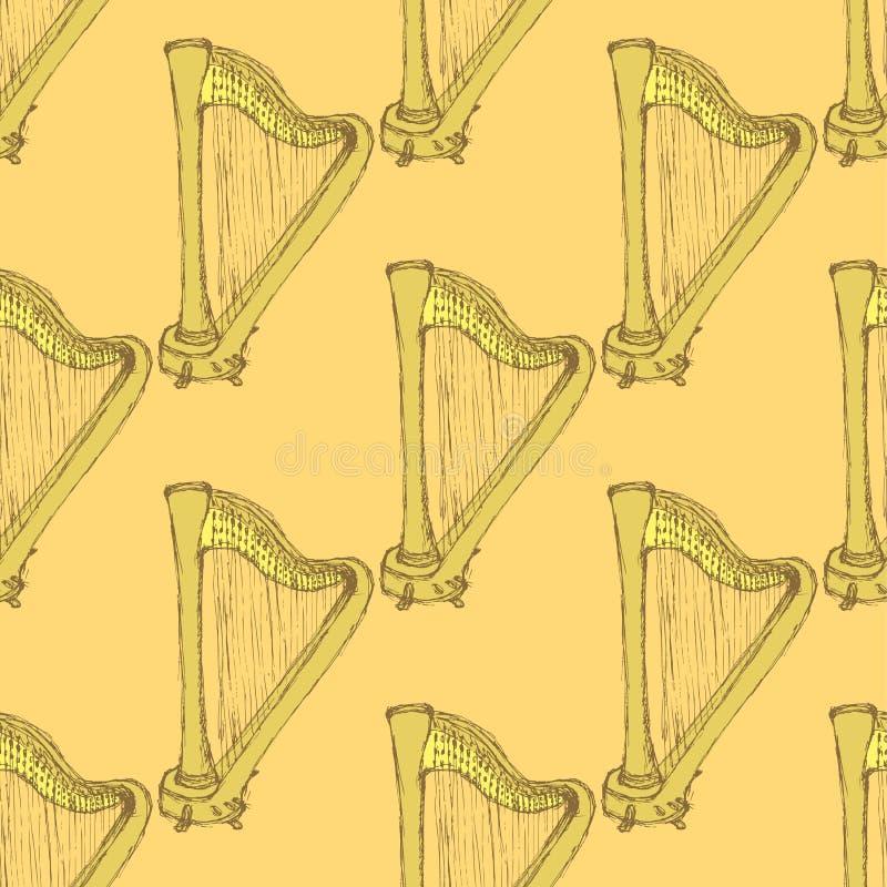 Instrumento musical da harpa do esboço no estilo do vintage ilustração royalty free