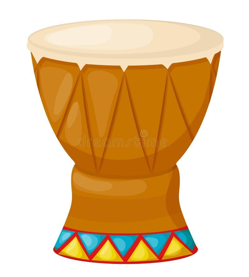 Instrumento musical da percussão de madeira bonita, cilindro com teste padrão decorativo do ornamento ilustração stock