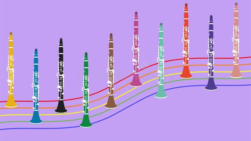 Instrumento musical del clarinete stock de ilustración