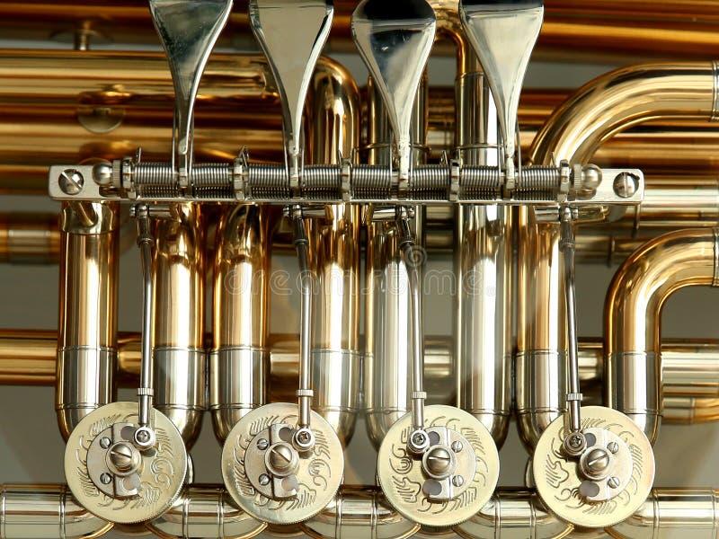 Instrumento musical do ouro de prata fotos de stock