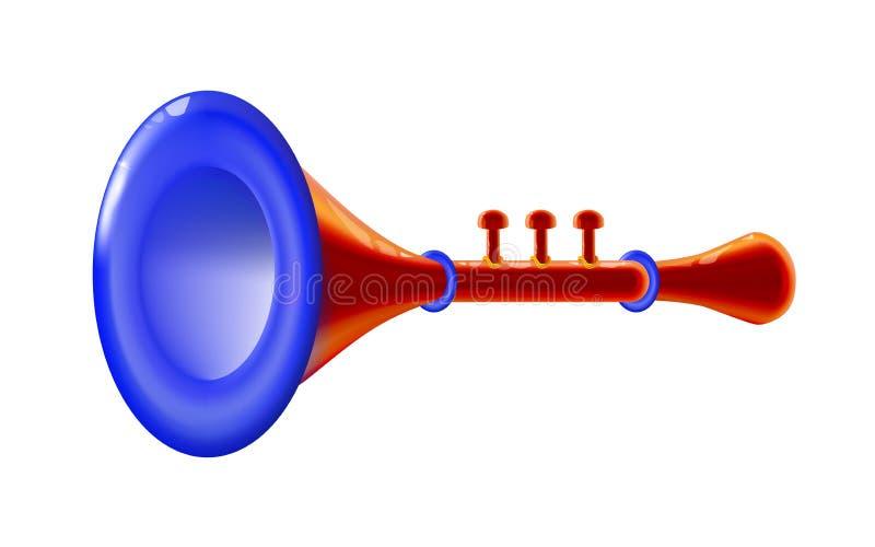 Instrumento musical isolado vermelho real?stico do vento 3d lustroso - sinal da trombeta, ?cone para a decora??o ou feriado, apre ilustração stock