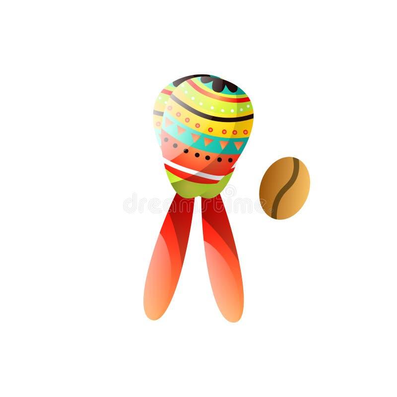 Instrumento musical nacional de Brasil dos maracas coloridos com feijão de café ilustração royalty free