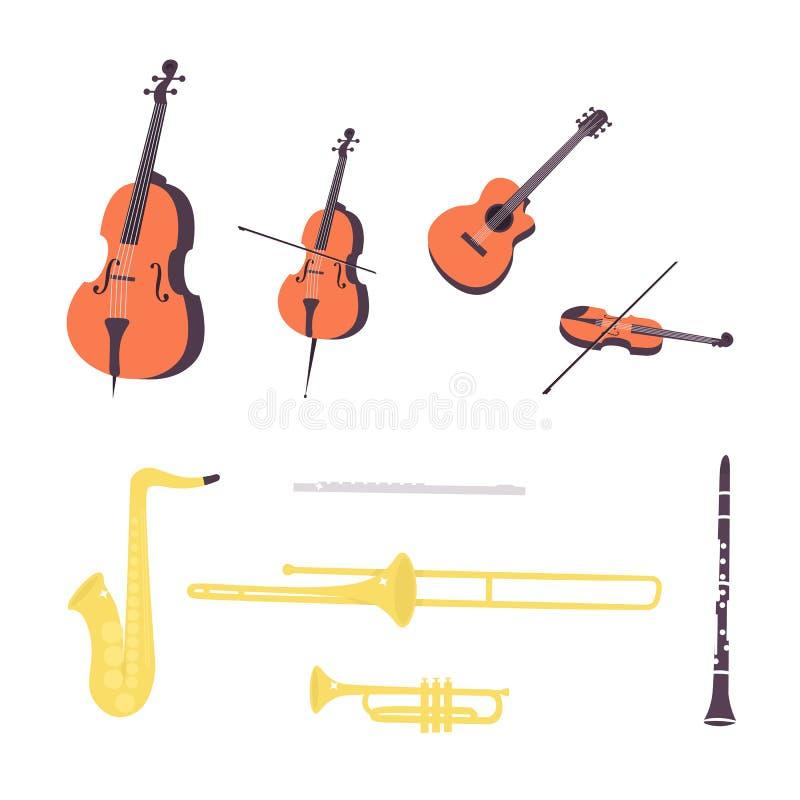 Instrumentos ajustados da corda e de vento da música ilustração royalty free