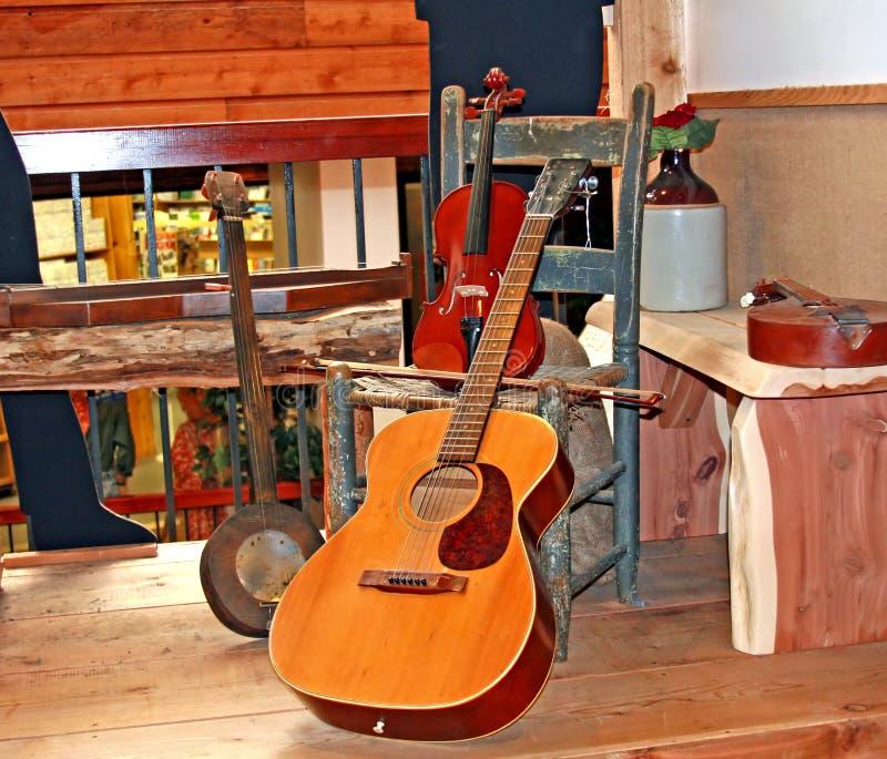 Instrumentos da música country fotos de stock