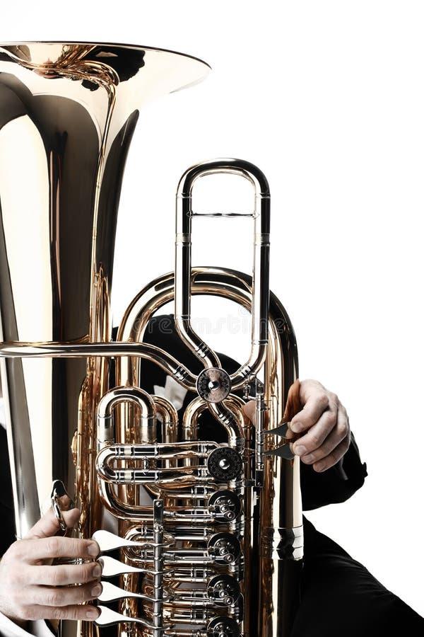 Instrumentos de cobre de la tuba euphonium imagenes de archivo