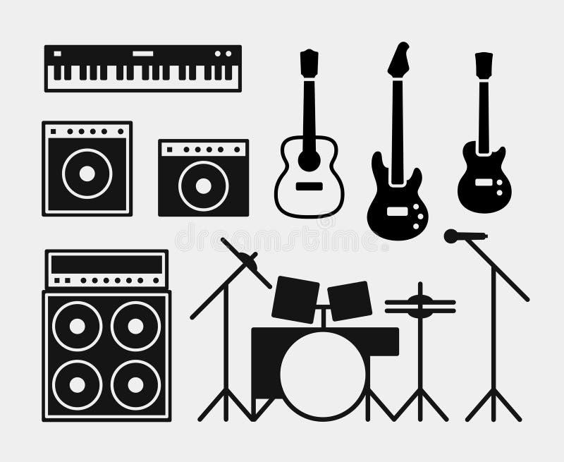 Instrumentos de la banda de rock de la música fijados stock de ilustración