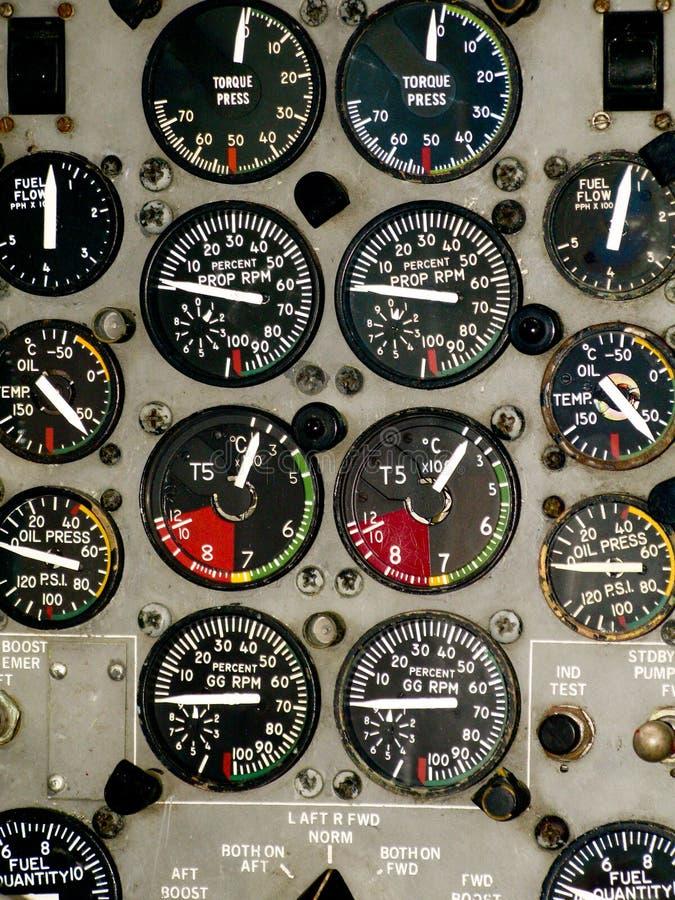 Instrumentos de la carlinga del aeroplano fotos de archivo libres de regalías