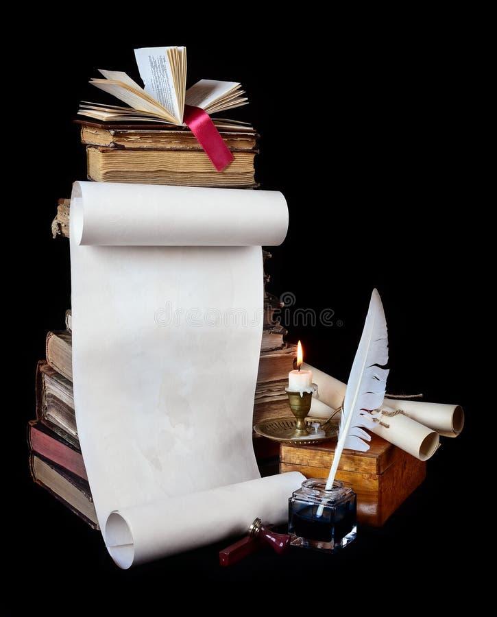 Instrumentos de la escritura del vintage imagen de archivo libre de regalías