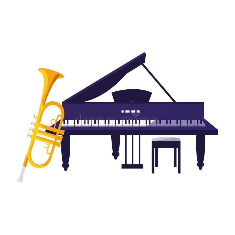 Instrumentos de la trompeta y del piano de cola musicales ilustración del vector