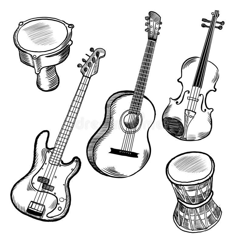 Instrumentos de música stock de ilustración