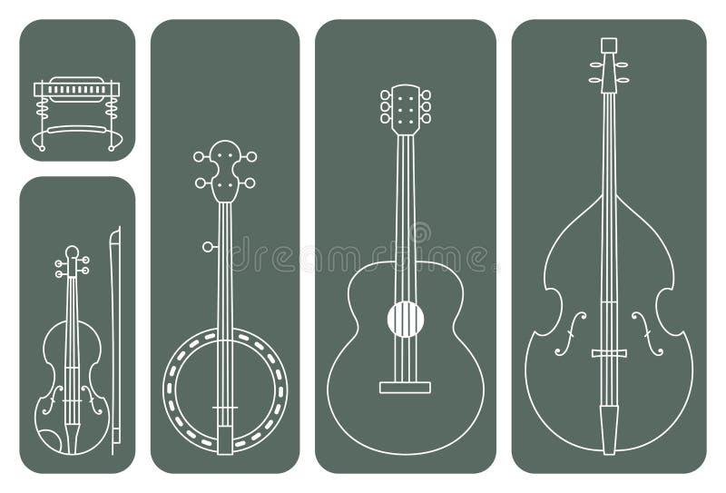 Instrumentos de música country ilustración del vector