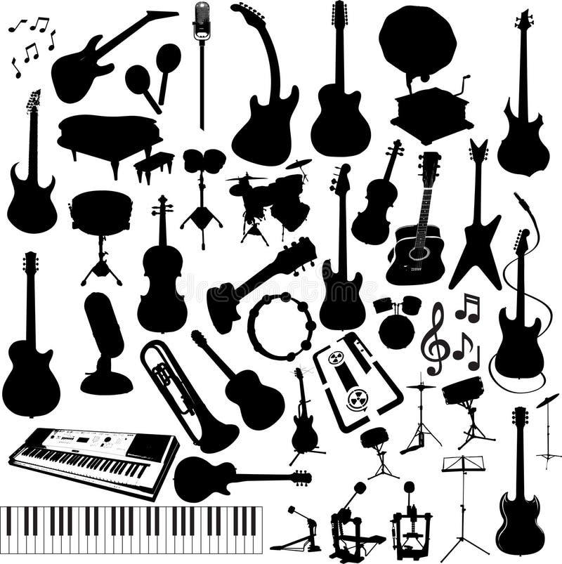 Instrumentos de música da silhueta ilustração stock
