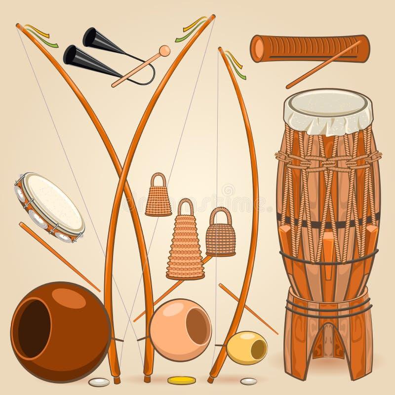 Instrumentos de música de Capoeira do brasileiro ilustração royalty free