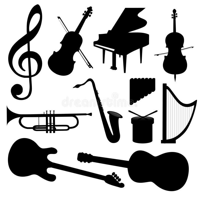 Instrumentos de música do vetor - silhueta ilustração royalty free
