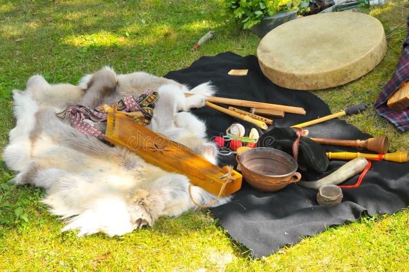 Instrumentos de música etnic diferentes foto de stock