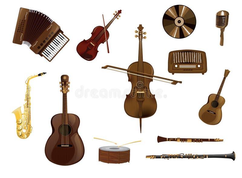 Instrumentos de música, grupo do vetor dos instrumentos musicais ilustração stock