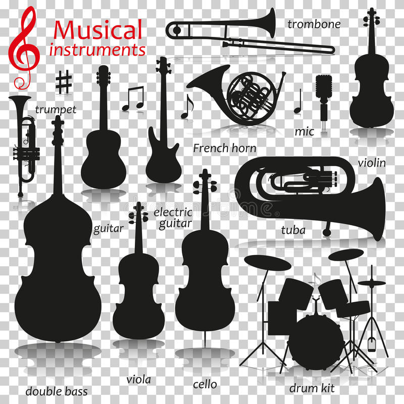 Instrumentos de música Iconos de la silueta con la reflexión en fondo transparente stock de ilustración