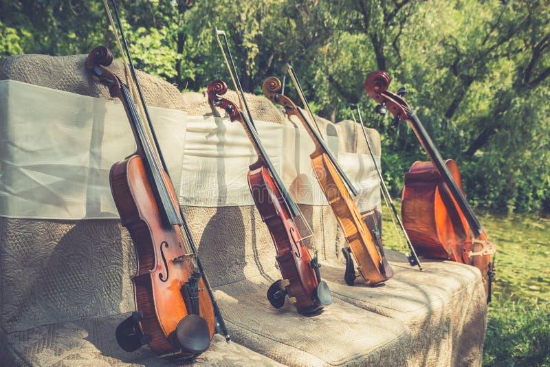Instrumentos de música na natureza imagem de stock royalty free