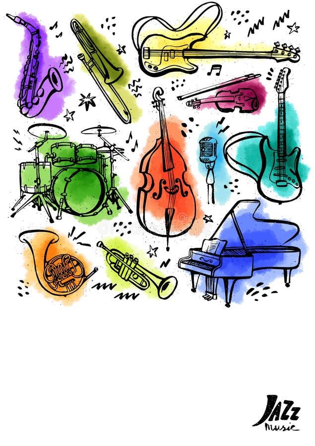 Instrumentos de música tirados mão Bandeira ou cartaz vertical Ilustração do vetor do estilo da tinta com manchas da aquarela no  ilustração do vetor