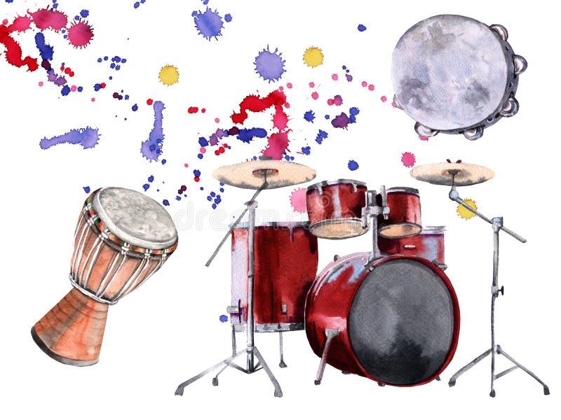 Instrumentos de percussão musicais Isolado no fundo branco ilustração stock