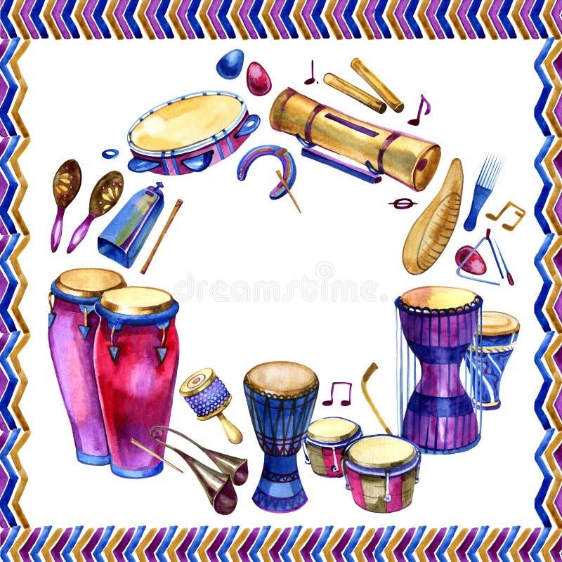 Instrumentos de percussão O círculo enchido com a mão tirada rabisca de cilindros étnicos em um fundo branco Quadro do projeto da ilustração royalty free