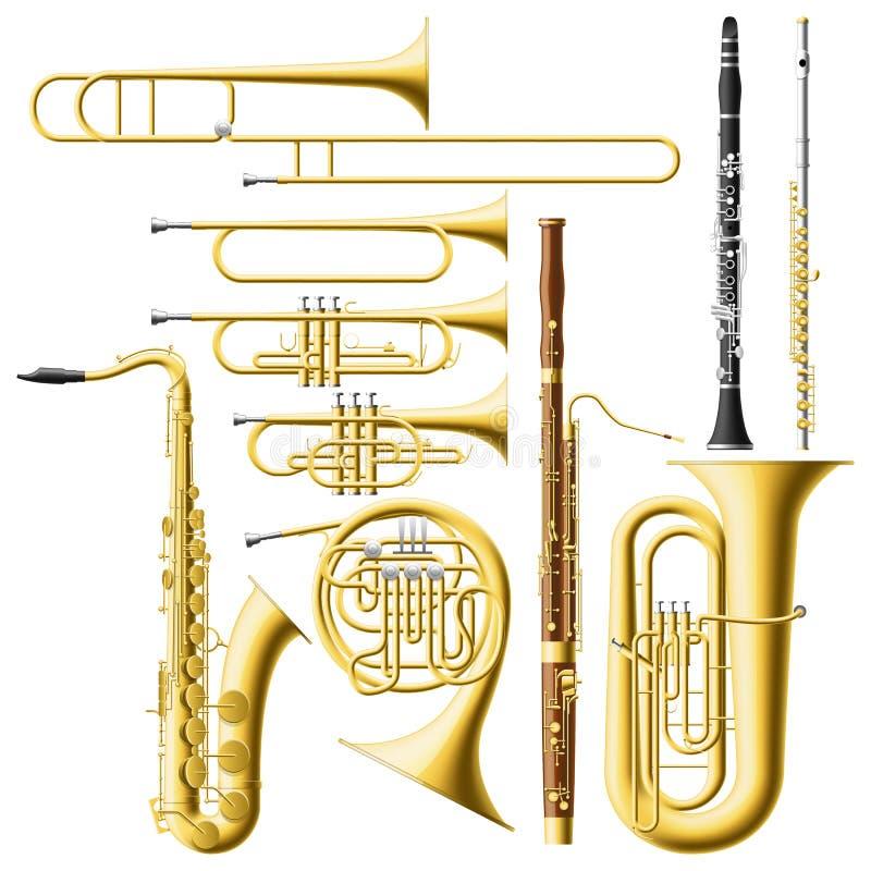 Instrumentos de vento ilustração stock