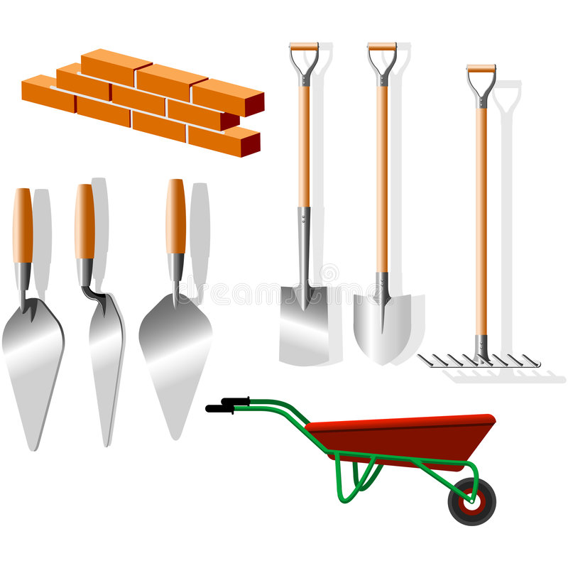 Instrumentos del edificio stock de ilustración