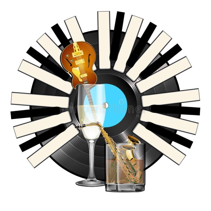 Instrumentos del jazz de cristal con el piano del vinilo del alcohol libre illustration