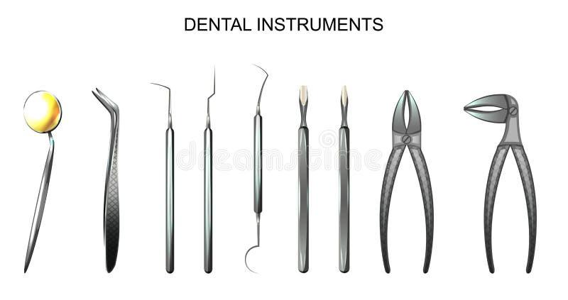 Instrumentos dentais dentistry ilustração stock