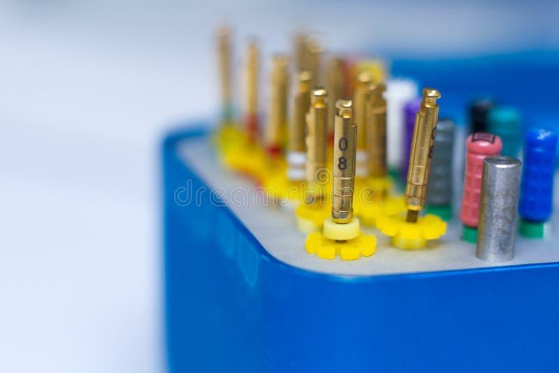 Instrumentos dentais do close-up para a remo??o dos nervos dentais em um fundo branco, foco seletivo fotos de stock