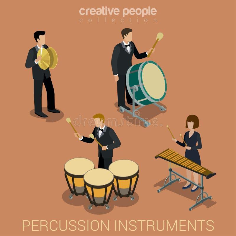 Instrumentos e músicos de percussão ilustração royalty free