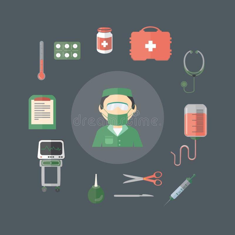 Instrumentos médicos das ferramentas dos desenhos animados lisos ilustração stock