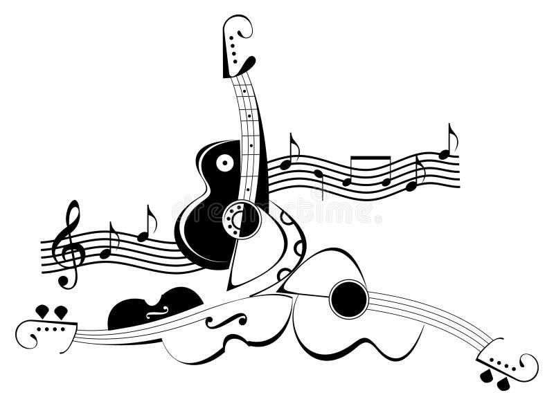 Instrumentos musicais da corda - violino e guitarra ilustração do vetor