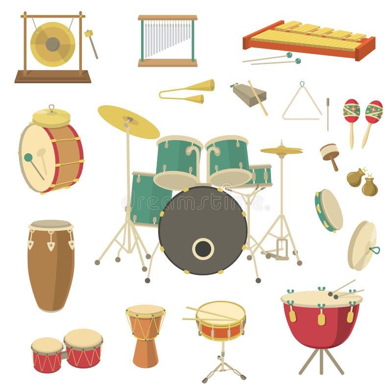 Instrumentos musicais da percussão ilustração do vetor