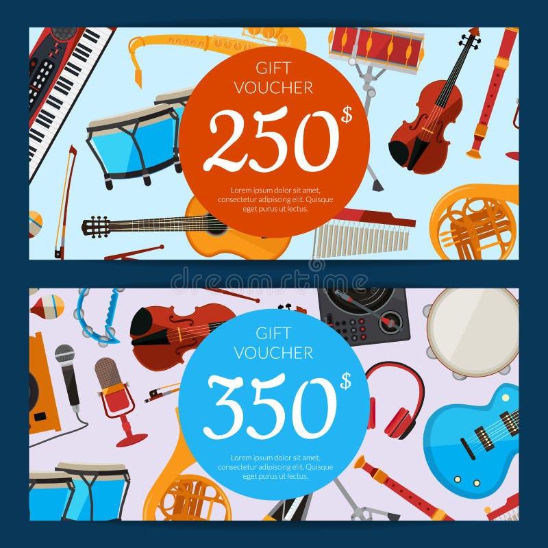 Instrumentos musicais disconto ou presente dos desenhos animados do vetor ilustração stock