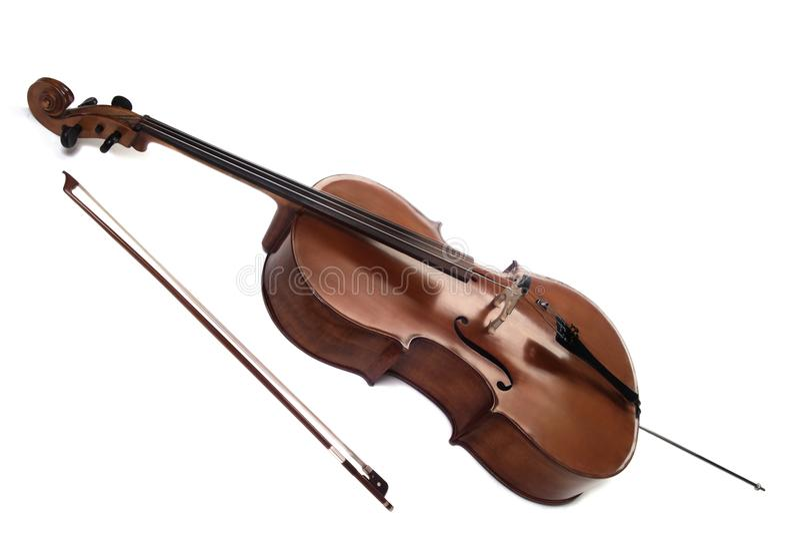 Instrumentos musicais do violoncelo isolados no branco fotos de stock