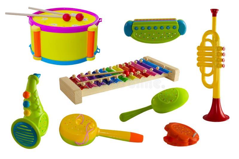 Instrumentos musicais, grupo em um fundo isolado, crianças Cilindro, trombeta, saxofone, xilofone, harmônica, castanholas ilustração stock