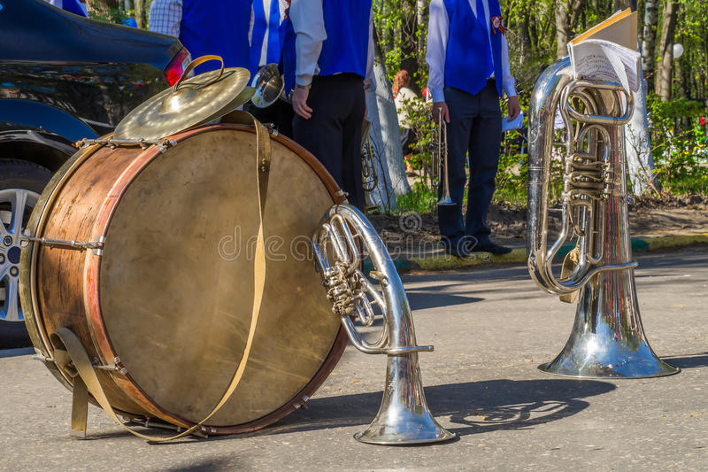 Instrumentos musicais no feriado da vitória na grande guerra patriótica imagem de stock