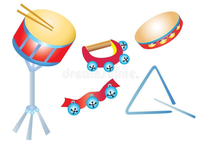 Instrumentos musicais, percussão ilustração stock