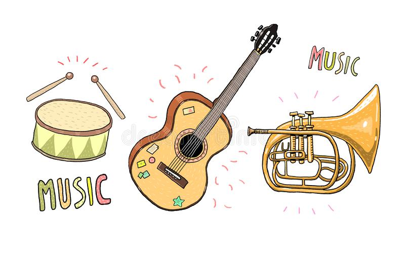 Instrumentos musicais pintados - cilindros, guitarra e trombeta Em um estilo claro do esboço ilustração stock