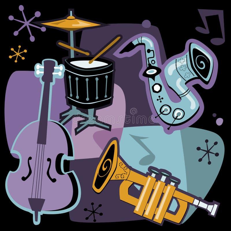 Instrumentos musicais retros ilustração stock