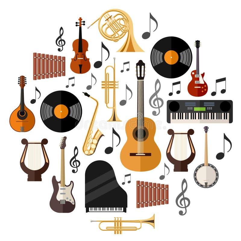 Instrumentos musicais sortidos ilustração stock