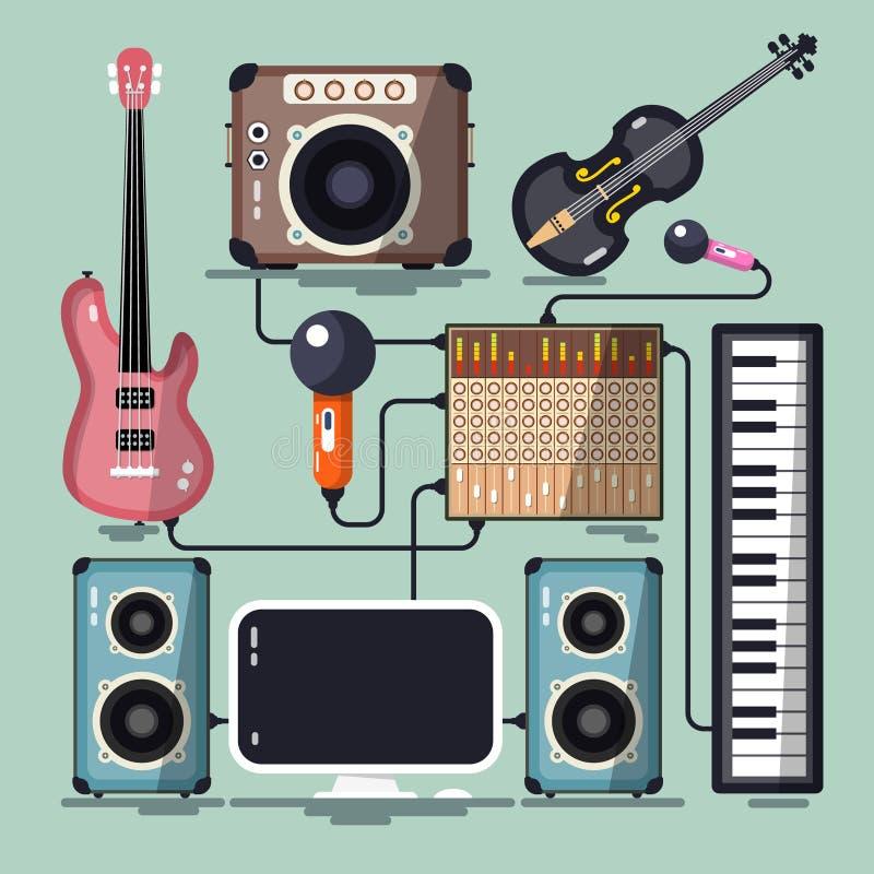 Instrumentos musicales, cables y dispositivos stock de ilustración