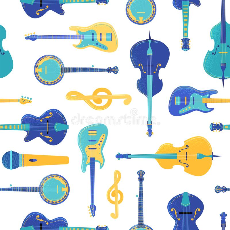 Instrumentos musicales de cadena vectorial patrón transparente libre illustration