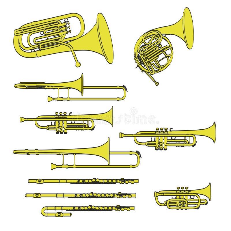 Instrumentos musicales de cobre amarillo ilustración del vector