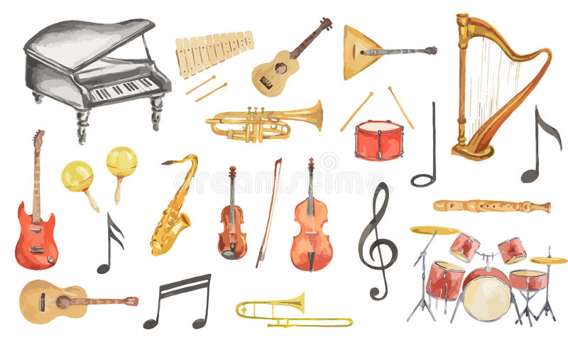 Instrumentos musicales de la acuarela fijados stock de ilustración