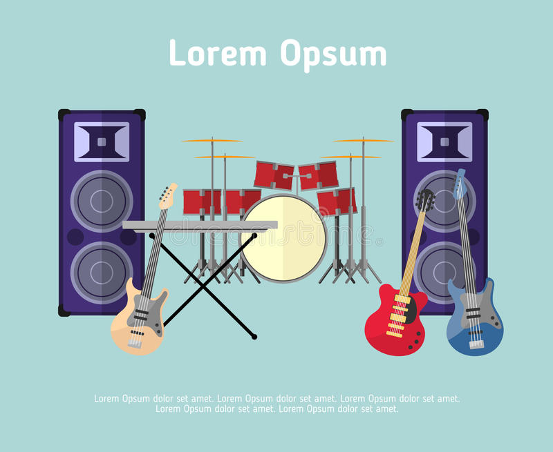 Instrumentos musicales de la banda de rock en estilo plano stock de ilustración